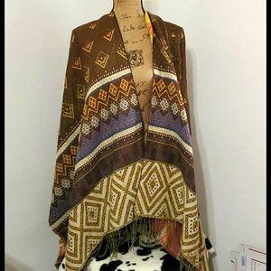 Graphic print•wrap blanket poncho•Cozy!•BUNDLE!